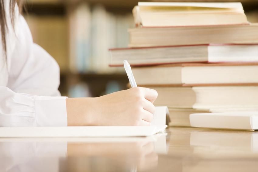 学生:本の山